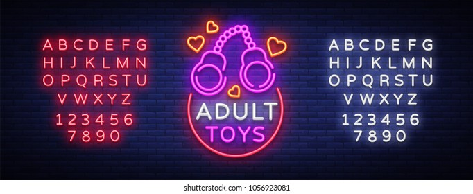 Adult toys logo in neon style. Design template, sex shop neon signs, light banner on the theme of the sex industry, vivid neon ad for your projects. Vector illustration. Editing text neon sign