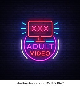 Adult video neon sign. Design template, neon logo xxx video, sex industry, light banner, night bright light advertisement. Vector illustration