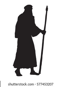 Adult wanderer with old stick in middle east judaic biblical apparel: shemagh, robe, thobe. Dark black ink hand drawn picture icon in vintage engraving style