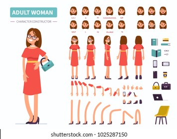 Adult woman character constructor for animation. Front, side and back view. Flat  cartoon style vector illustration isolated on white background.