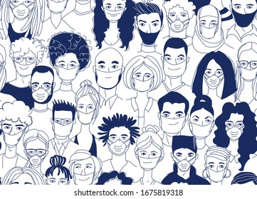 Adult women men children seamless pattern background. Diverse crowd group of people wearing medical masks protection coronavirus epidemic. Hand drawn line drawing doodle vector illustration poster