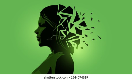 Adult women silhouette with a fractured mind. Mental Health vector illustration.