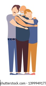 Adult and young sons hugging old father. Old man hugging sons or grandsons. Happy Grandparent's Day or Father's Day. Three men of family. Congrats dad or granddad. Flat cartoon vector illustration