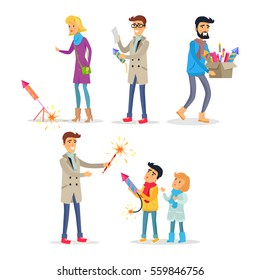 Adults and children setting off colourful fireworks in flat design. Vector illustration in cartoon style of people looking at pyrotechnics, reading instruction, carrying box and teaching children