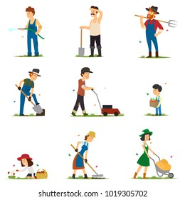 adults and children work on the farm. people are engaged in farming. vector