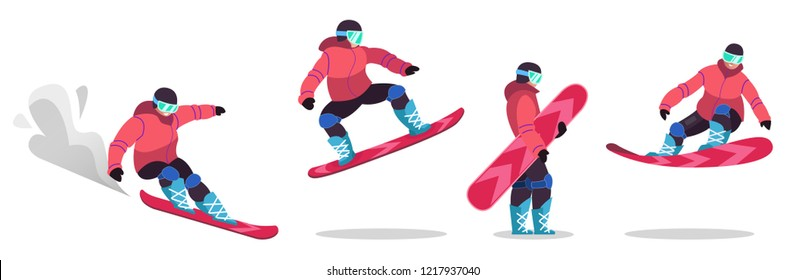 Adults, dressed in winter clothes, go snowboarding. Men and women pragat from a springboard and descend from the mountain .. Winter mountain sports activities. Isolated vector illustration in flat sty