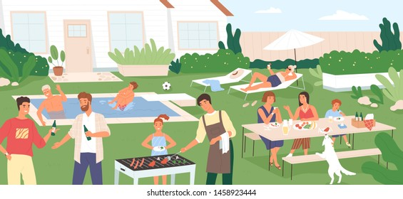 Adults and kids spending time in backyard at barbecue party or picnic. People performing recreational activities in garden - cooking, sunbathing, swimming in pool. Flat cartoon vector illustration.