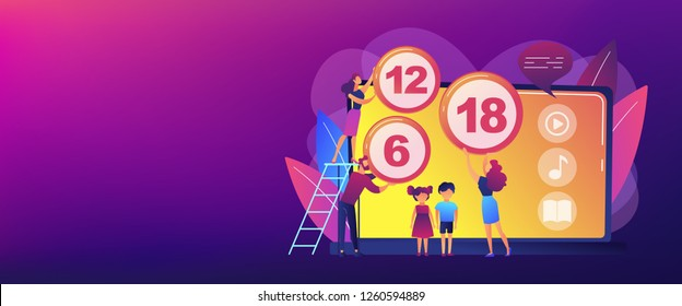 Adults rating content for children with age restriction signs. Content rating system, age limitation content, censorship classification concept. Header or footer banner template with copy space.