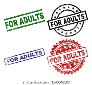 FOR ADULTS seal imprints with distress style. Black, green,red,blue vector rubber prints of FOR ADULTS title with grunge style. Rubber seals with round, rectangle, rosette shapes.