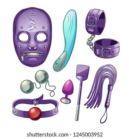 Adults sex toys, accessories for BDSM role play cartoon vector set with dildo or vibrator, latex face mask, leather handcuff and whip, paddle, mouth gag, butt plugs. Sex shop assortment collection