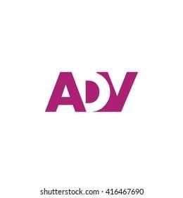 ADV Logo. Vector Graphic Branding Letter Element. White Background