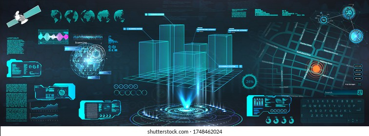 Advance HUD control center. Graphic Dashboard Head-up display and  Futuristic User Interface GUI, UI. Smart technology IOT and Sci-fi city. 3D model Hologram Earth Globe. Vector HUD elements set