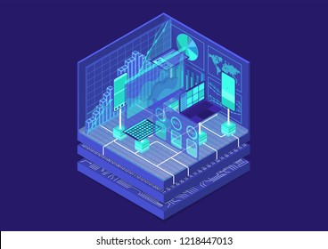 Advanced Analytics isometric vector illustration. Abstract 3D infographic with mobile devices and data dashboards