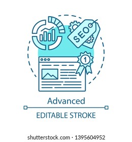 Advanced concept icon. SEO keyword tool subscription idea thin line illustration. Increasing visibility of website. Vector isolated outline drawing. Search engine optimization. Editable stroke