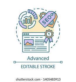 Advanced concept icon. SEO keyword tool subscription idea thin line illustration. Increasing visibility of website. Search engine optimization. Vector isolated outline drawing. Editable stroke