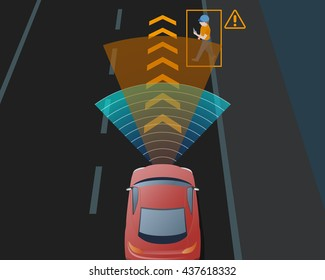 Advanced Driving Assistant System(ADAS), automobile sensing technology,  top view, vector illustration