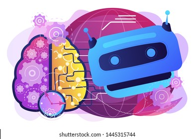 Advanced, futuristic artificial intelligence. Deep learning algorithm. Technological singularity, technological growth, post-human era concept. Bright vibrant violet vector isolated illustration