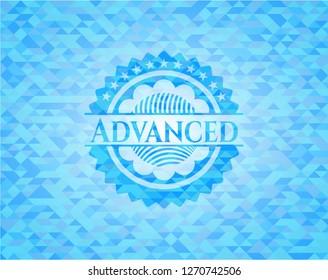 Advanced sky blue emblem. Mosaic background