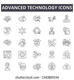 Advanced technology line icons. Editable stroke signs. Concept icons: digital business, connection, communication, innovation, tech etc. Advanced technology  outline illustrations