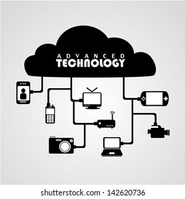 advanced technology over gray background vector illustration