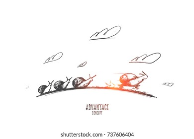 Advantage concept. Hand drawn sprint fast of snails like competition. Four snails racing forward isolated vector illustration.