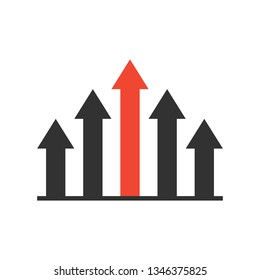 advantage icon. competitive strategy logo. favorable or superior business position concept. five arrow symbol. isolated on white background. vector illustration