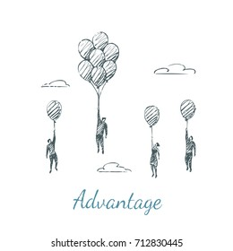 Advantage. People fly up on balloons. Vector business concept hand drawn sketch.