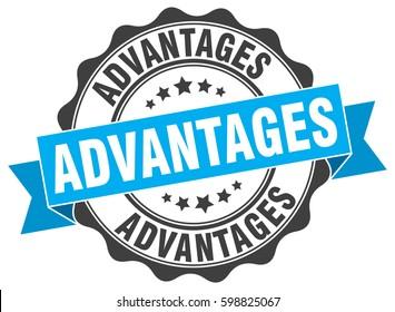 advantages. stamp. sticker. seal. round grunge vintage ribbon advantages sign