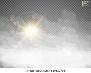 Advection fog or smoke with sunlight isolated translucent special effect. White vector clouds, fog or smog background. Vector illustration