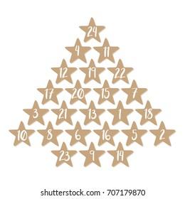 Advent calendar with 24 stars