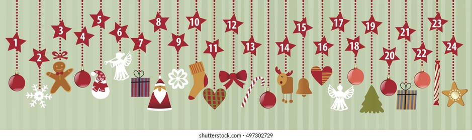 Advent calendar with Christmas decorations