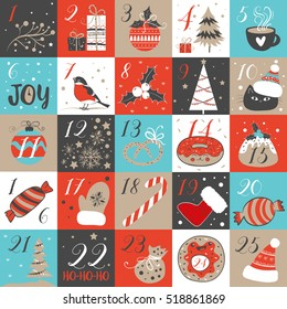 Advent calendar with Christmas elements. Holidays poster, vector illustrations