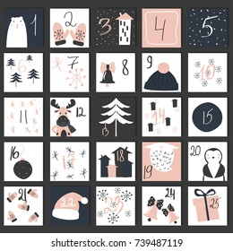 Advent calendar. Christmas funny poster. Vector hand drawn illustration.