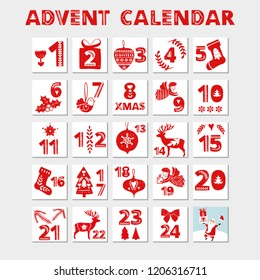 Advent calendar. Christmas holiday celebration cards for countdown