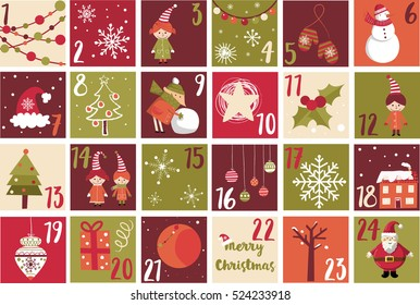 Advent calendar. Christmas symbol. Christmas poster