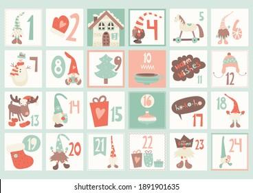Advent calendar with cite scandinavian gnomes in retro style. Vector illustration. Landscape format.