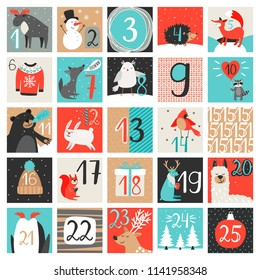 Advent calendar. December countdown calendar vector illustration, christmas eve creative winter cartoon background set with numbers