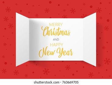 Advent Calendar Doors opening with snowflakes. Greeting Card. Merry Christmas and Happy New Year lettering, vector illustration