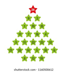 advent calendar green christmas tree vector illustration EPS10