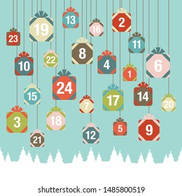 Advent Calendar Hanging Christmas Gifts Forest Retro Colors