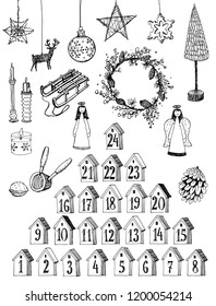 Advent calendar. Merry Christmas! Christmas related set. Hand drawn elements. Black and white vector illustration.