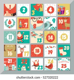 Advent calendar for opening on christmas holidays. Greeting card template set. Vector xmas layout design. Santa, reindeer, snowman, cookie, birds and holly elements background.