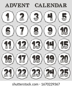 Advent calendar. Advent stickers with numbers from 1 to 25. Christmas advent calendar, hand drawn style. Vector illustration.