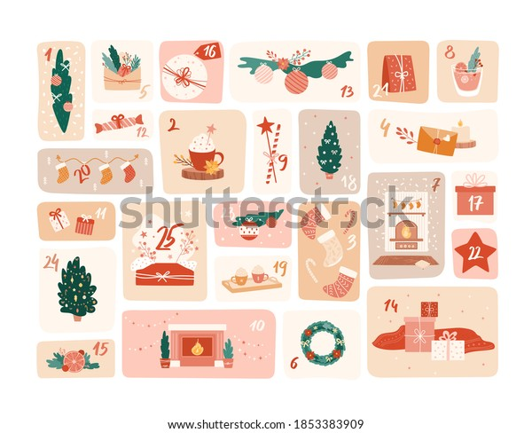 Advent calendar. Vector cute illustrations with numbers 1 to 25. Big set of Christmas objects, decor elements. New Year and Xmas celebration preparation. Holiday hand drawn symbols for banner, poster
