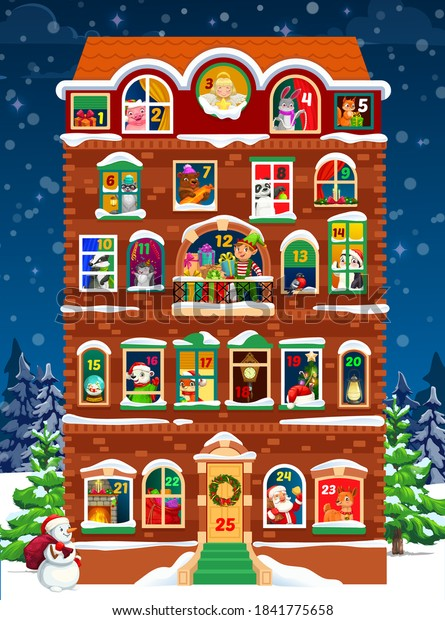 Advent calendar vector template of Christmas house with winter holidays countdown windows. Santa, Xmas tree, snowman and gifts, elf and reindeer with presents, bell, star and fireplace, red hat, angel