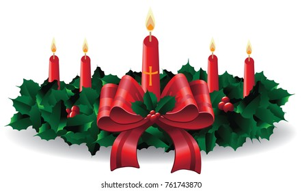 Advent calendar wreath with candles. Countdown to christmas. EPS 10 vector illustration.