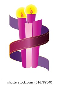 Advent candles wreath with purple violet ribbon. Second Sunday of Advent - Christmas season holiday color vector illustration.