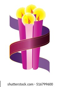 Advent candles wreath with purple violet ribbon. Fourth Sunday of Advent - Christmas season holiday color vector illustration.