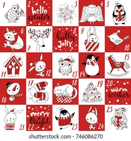Advent Christmas vector calendar with cute holiday characters and handwritten text. Count down till Christmas. Christmas symbols animals and lettering