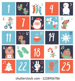 Advent Countdown Calendar with cartoon characters and symbols. Birds, Elf, Santa, gift, card, animals, sweets, dear, mitten, socks. Christmas poster. Winter Holidays Design Elements.
